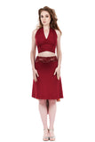 the signature skirt in cabernet and painter's palette - Poema Tango Clothes: handmade luxury clothing for Argentine tango
