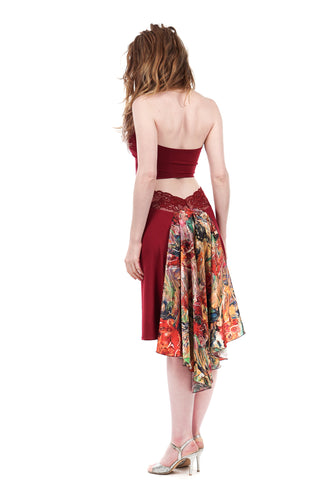 the signature skirt in cabernet and painter's palette