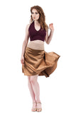 the signature skirt in caramel gold silk - Poema Tango Clothes: handmade luxury clothing for Argentine tango