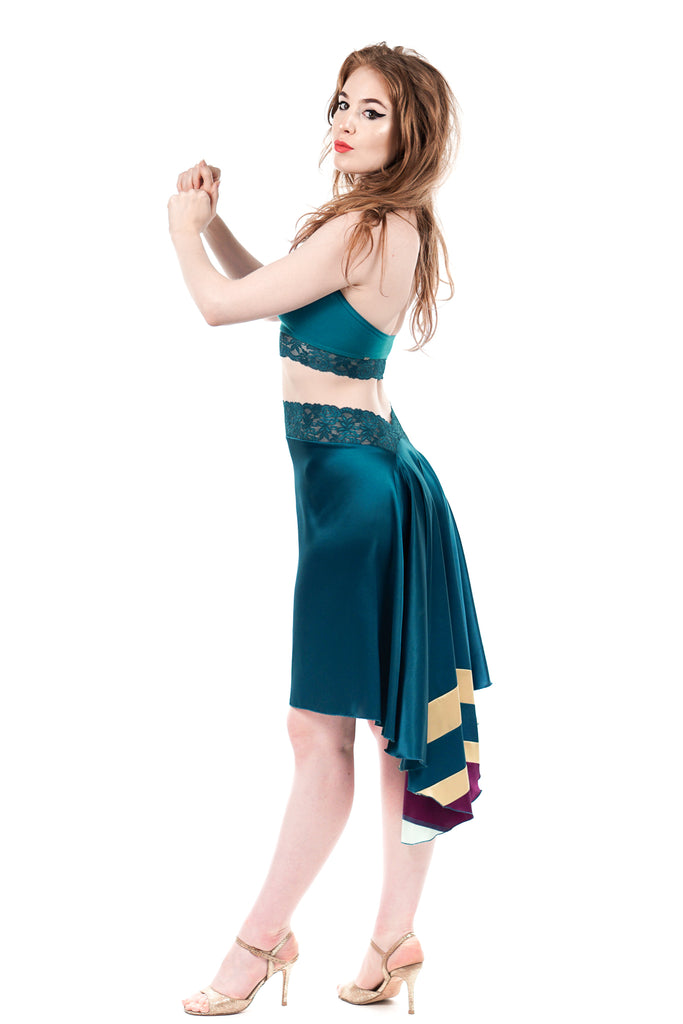 the signature skirt in cerulean & stripes - Poema Tango Clothes: handmade luxury clothing for Argentine tango