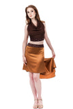 the signature skirt in cinnamon gold and gilded plum - Poema Tango Clothes: handmade luxury clothing for Argentine tango