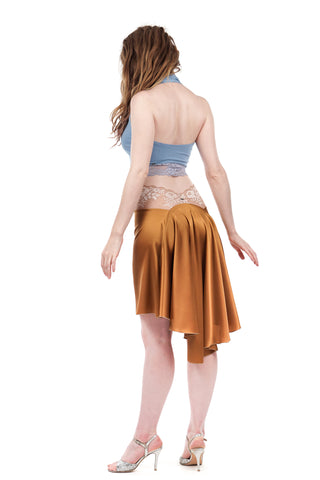 the signature skirt in copper sable silk