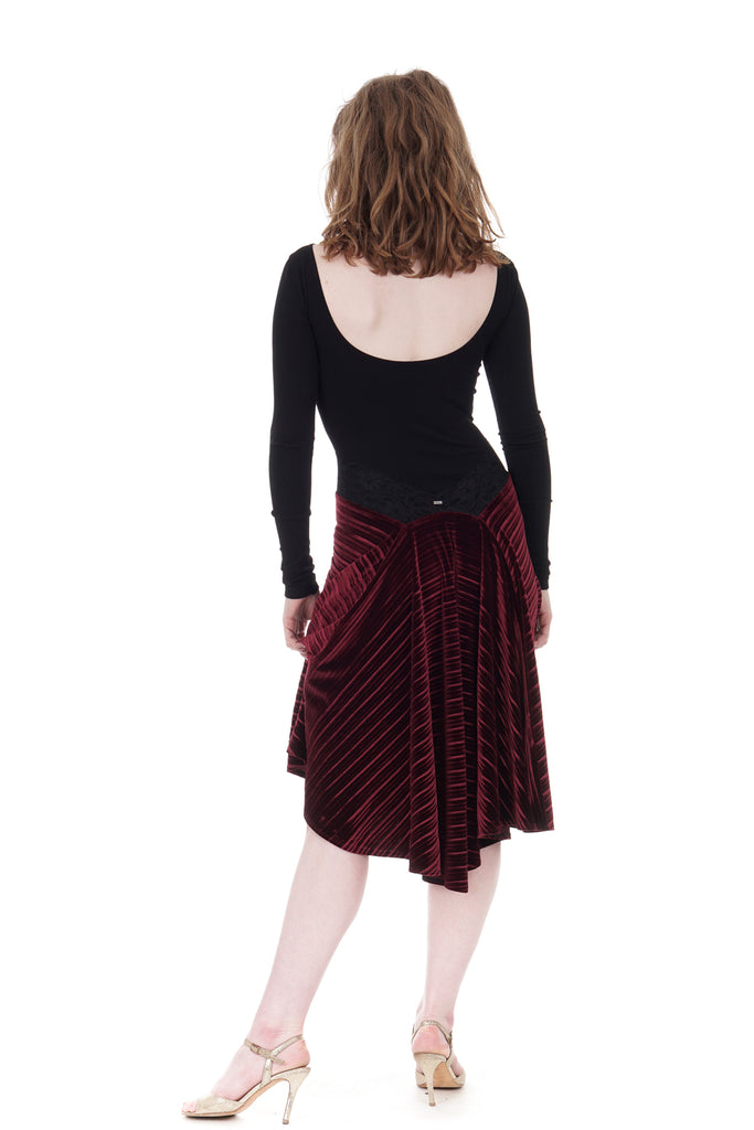 the signature skirt in crimped wine velvet - Poema Tango Clothes: handmade luxury clothing for Argentine tango