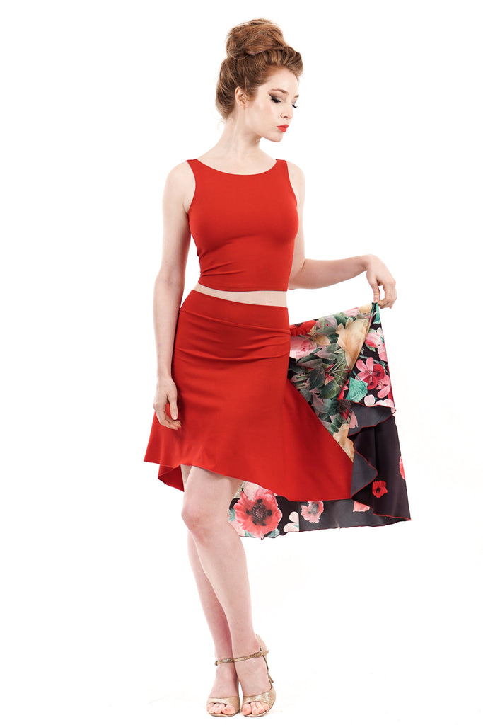 the signature skirt in crimson and spilled flower silk - Poema Tango Clothes: handmade luxury clothing for Argentine tango