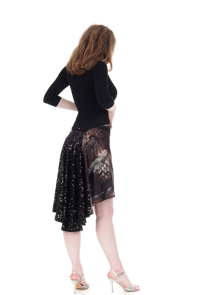 the signature skirt in dark lake & drama sequin - Poema Tango Clothes: handmade luxury clothing for Argentine tango