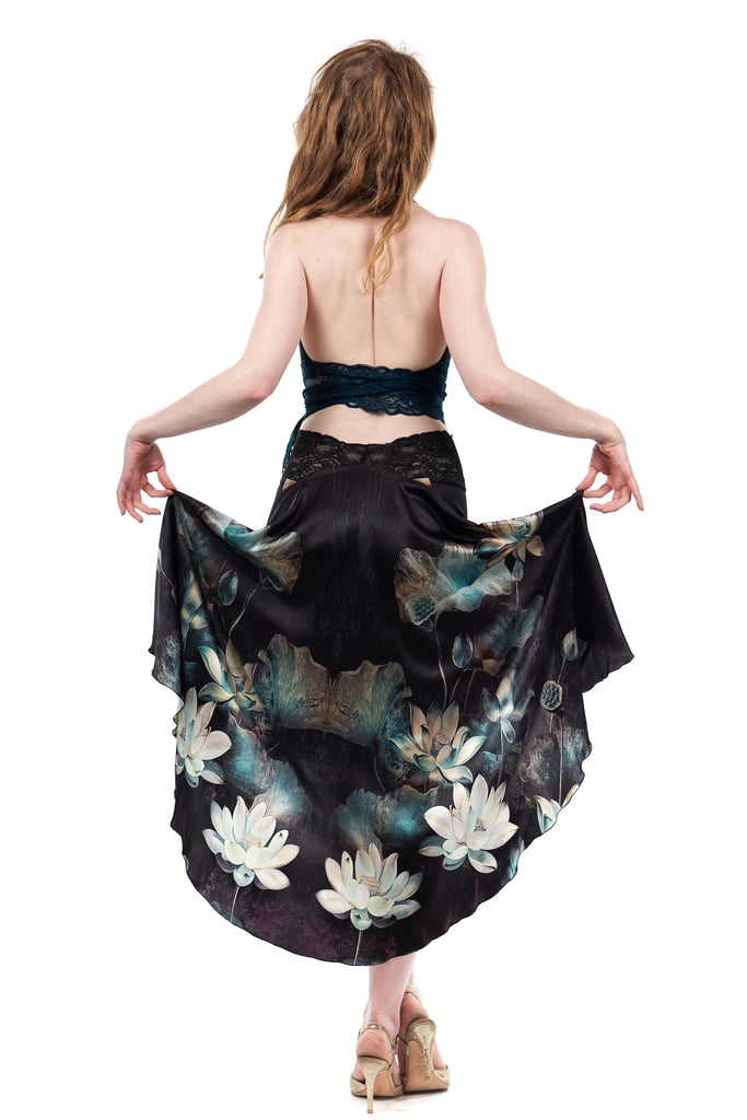 the signature skirt in dark lotus silk - Poema Tango Clothes: handmade luxury clothing for Argentine tango