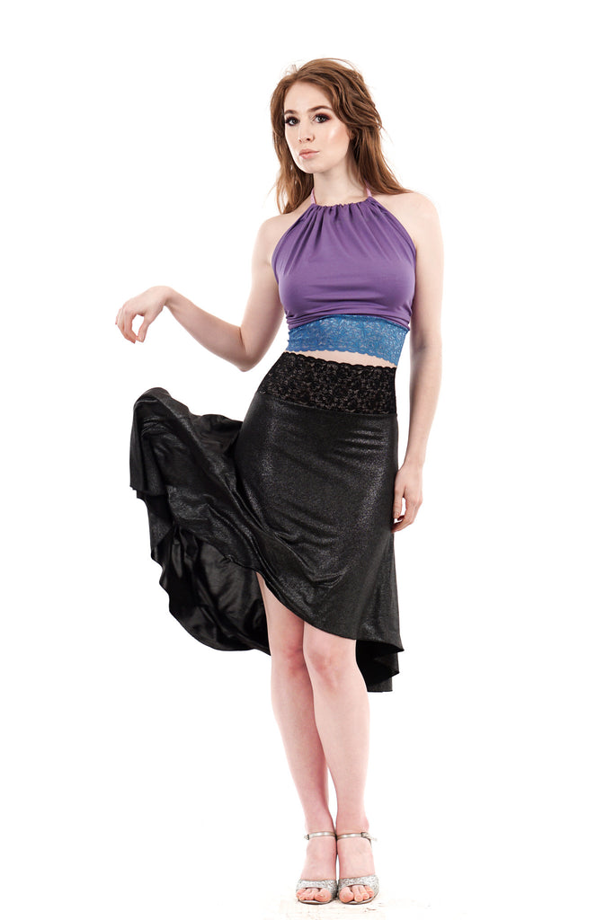 the signature skirt in dark shimmer - Poema Tango Clothes: handmade luxury clothing for Argentine tango