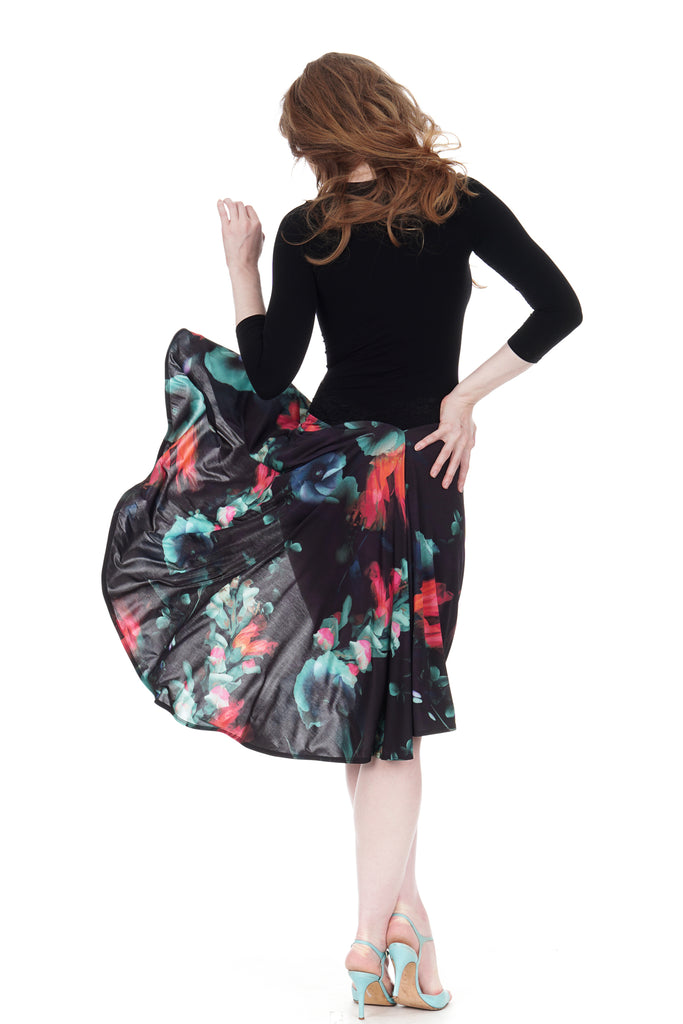 the signature skirt in duskbloom - Poema Tango Clothes: handmade luxury clothing for Argentine tango