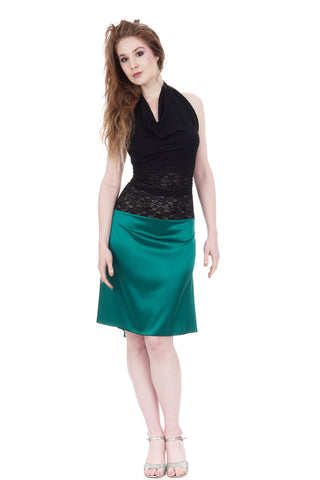 the signature skirt in emerald silk