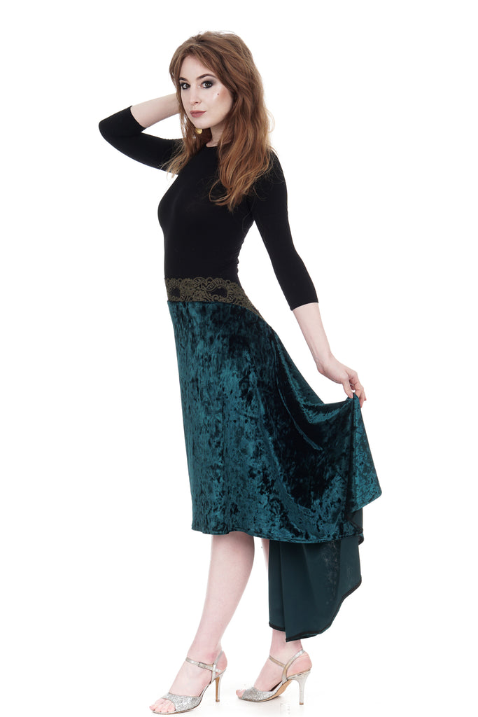 the signature skirt in emerald velvet - Poema Tango Clothes: handmade luxury clothing for Argentine tango