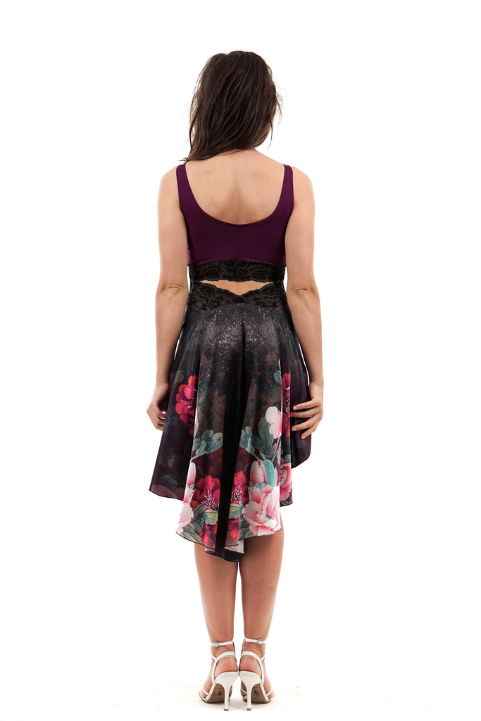 the signature skirt in falling peony - Poema Tango Clothes: handmade luxury clothing for Argentine tango