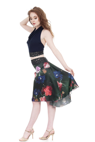 the signature skirt in flowers on emerald