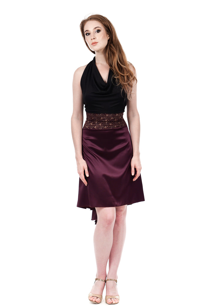 the signature skirt in gilded plum silk - Poema Tango Clothes: handmade luxury clothing for Argentine tango