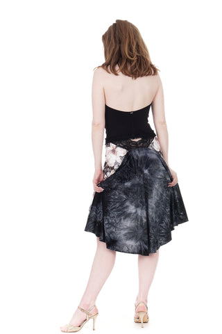 the signature skirt in glossy bouquet and blue smoke velvet