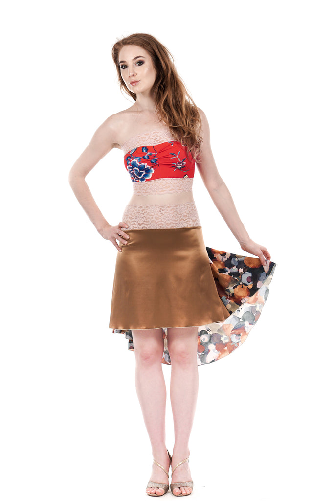 the signature skirt in gold and pear blossom - Poema Tango Clothes: handmade luxury clothing for Argentine tango