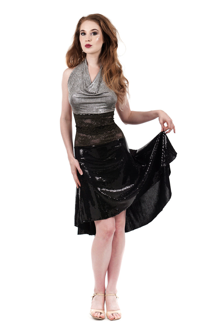 the signature skirt in high-shine sequins - Poema Tango Clothes: handmade luxury clothing for Argentine tango