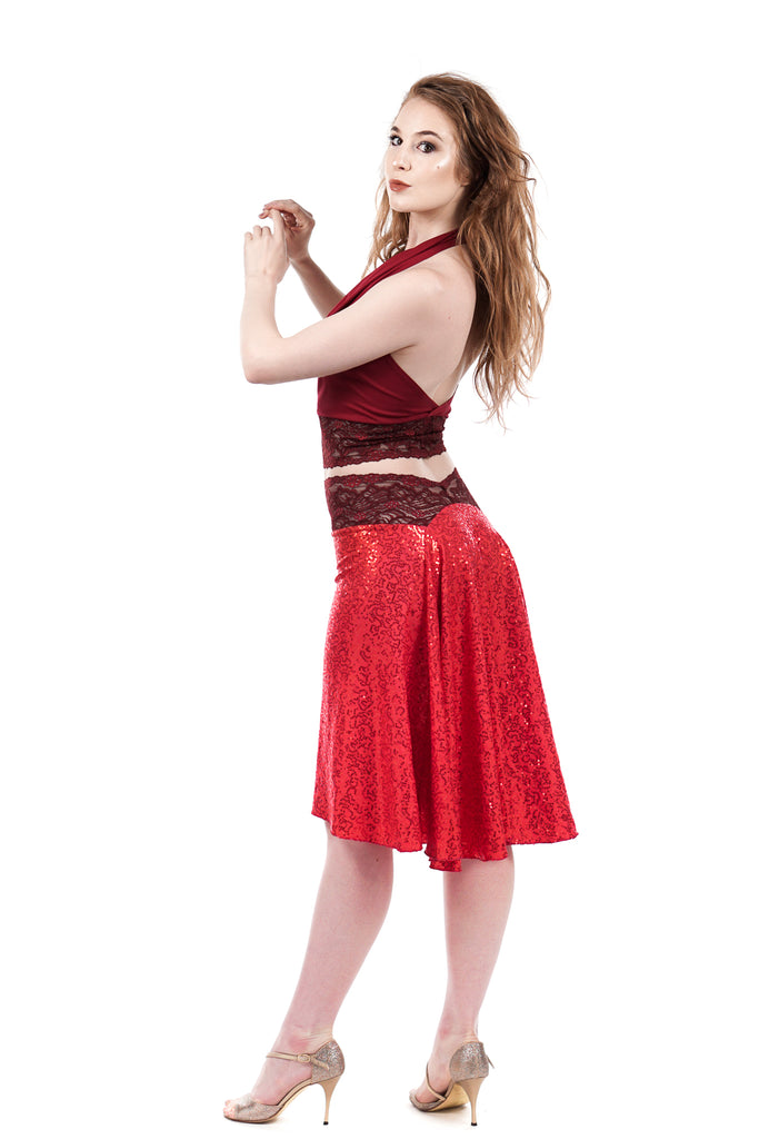 the signature skirt in hot coral sequins - Poema Tango Clothes: handmade luxury clothing for Argentine tango