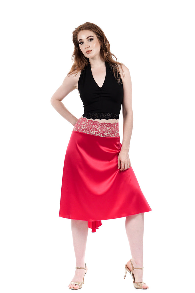 the signature skirt in hot pink silk - Poema Tango Clothes: handmade luxury clothing for Argentine tango