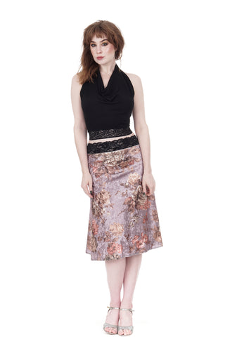 the signature skirt in icy floral velvet