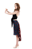 the signature skirt in inked vines & burgundy cranes - Poema Tango Clothes: handmade luxury clothing for Argentine tango