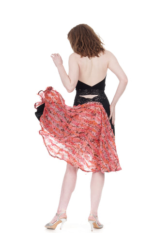 the signature skirt in inky & coral silk ruffles