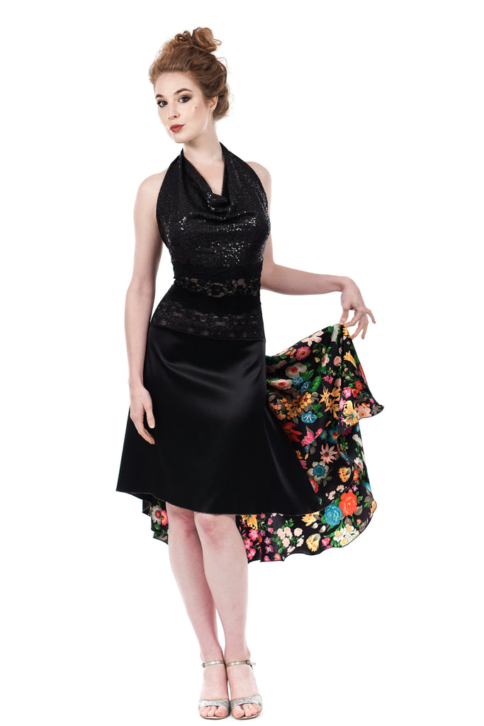 the signature skirt in inky & illustrated flowers - Poema Tango Clothes: handmade luxury clothing for Argentine tango