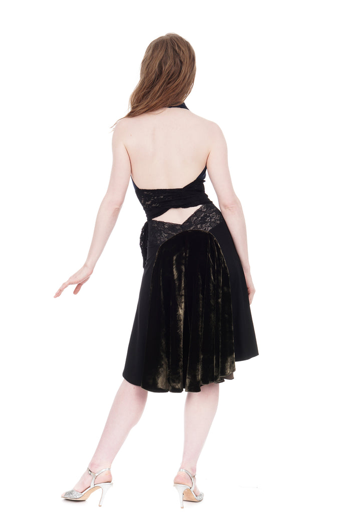 the signature skirt in inky and forest velvet - Poema Tango Clothes: handmade luxury clothing for Argentine tango