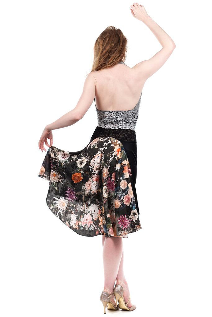 the signature skirt in inky and jacquard garden - Poema Tango Clothes: handmade luxury clothing for Argentine tango