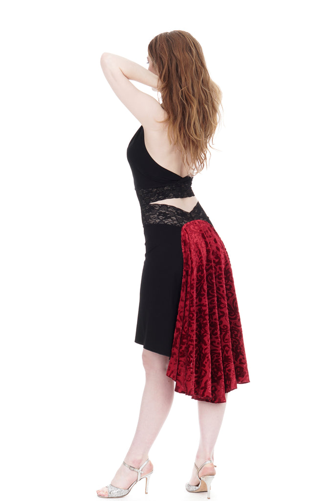 the signature skirt in inky and red velvet burnout - Poema Tango Clothes: handmade luxury clothing for Argentine tango