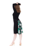 the signature skirt in inky jersey & green lilies - Poema Tango Clothes: handmade luxury clothing for Argentine tango
