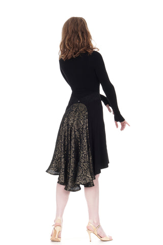 the signature skirt in inky jersey and embossed silk