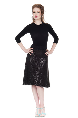the signature skirt in inky sequins