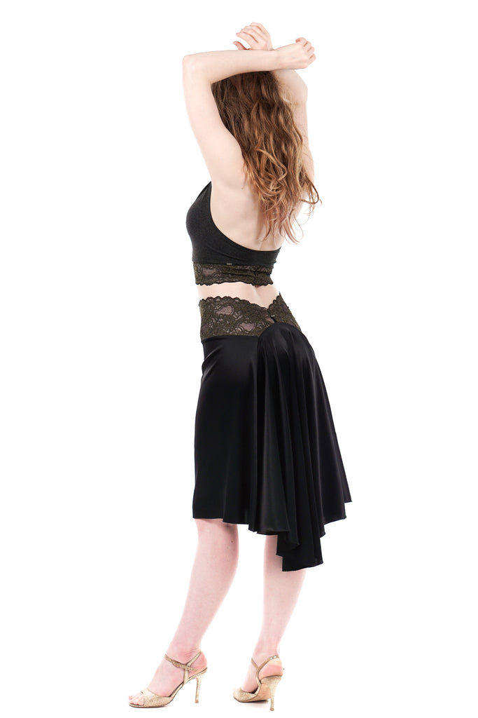 the signature skirt in inky silk & french green lace - Poema Tango Clothes: handmade luxury clothing for Argentine tango