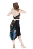 the signature skirt in inky silk crepe and dreamy pond - Poema Tango Clothes: handmade luxury clothing for Argentine tango