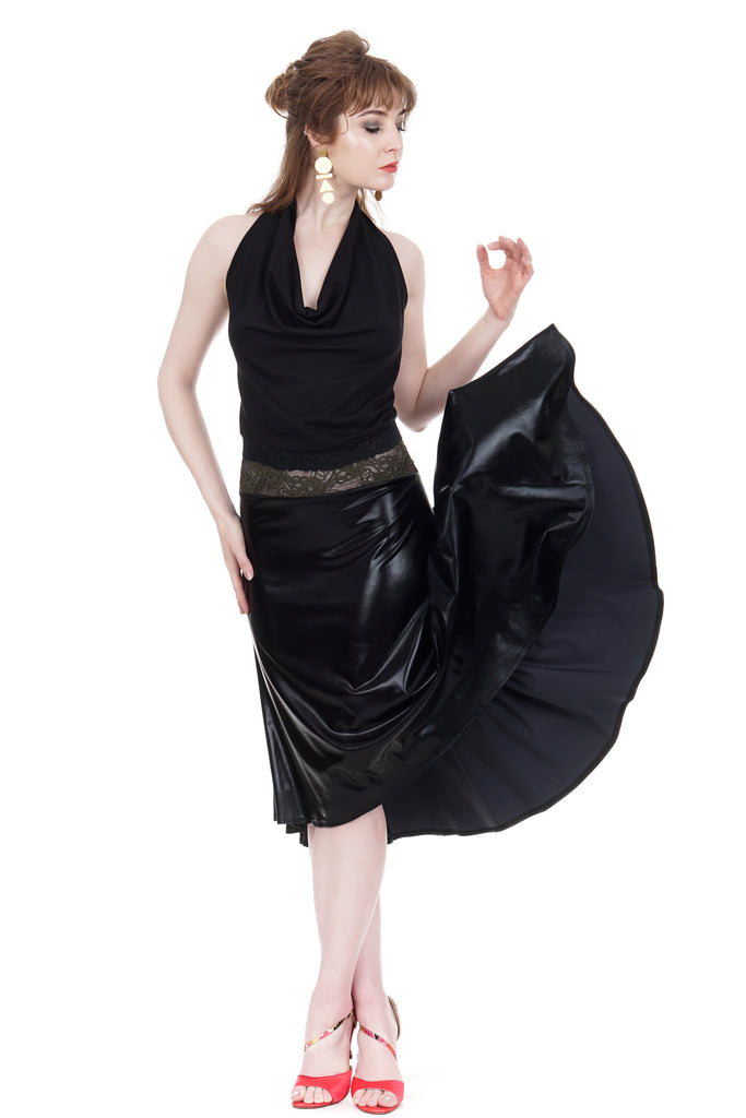 the signature skirt in leatherette - Poema Tango Clothes: handmade luxury clothing for Argentine tango