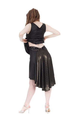 the signature skirt in leatherette & liquid moonlight