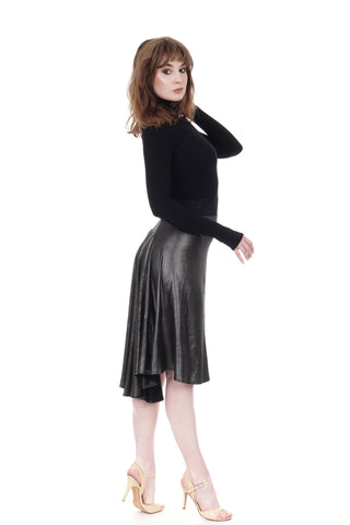 the signature skirt in liquid metal