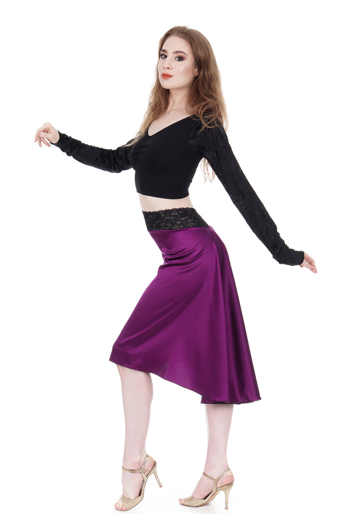 the signature skirt in luminous orchid - Poema Tango Clothes: handmade luxury clothing for Argentine tango