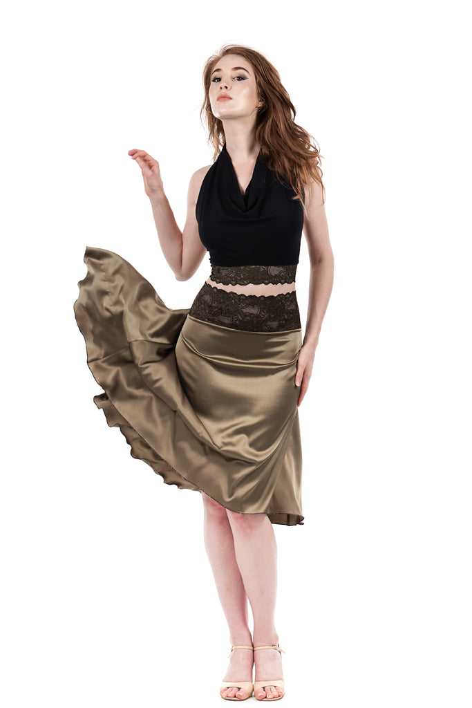 the signature skirt in martini olive - Poema Tango Clothes: handmade luxury clothing for Argentine tango
