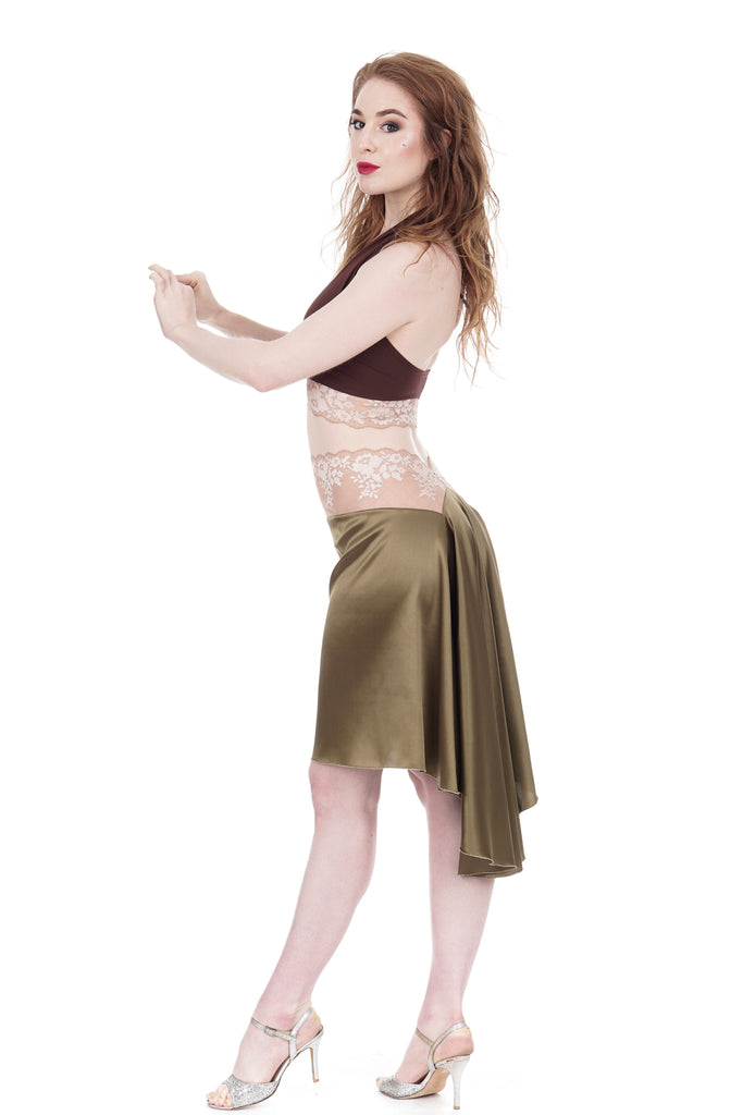 the signature skirt in martini olive and blush lace - Poema Tango Clothes: handmade luxury clothing for Argentine tango