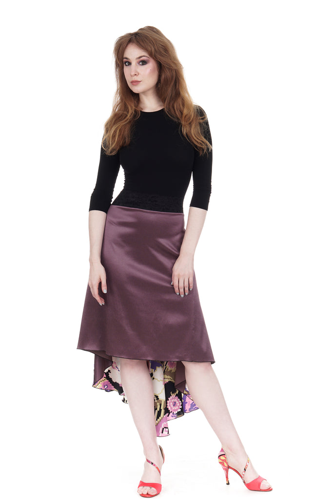the signature skirt in mauve silk satin and digital blooms - Poema Tango Clothes: handmade luxury clothing for Argentine tango
