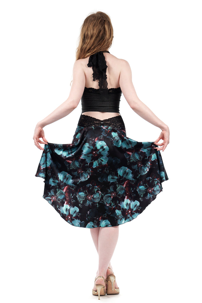 the signature skirt in mazarine blooms - Poema Tango Clothes: handmade luxury clothing for Argentine tango