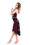 the signature skirt in merlot and nightbird - Poema Tango Clothes: handmade luxury clothing for Argentine tango