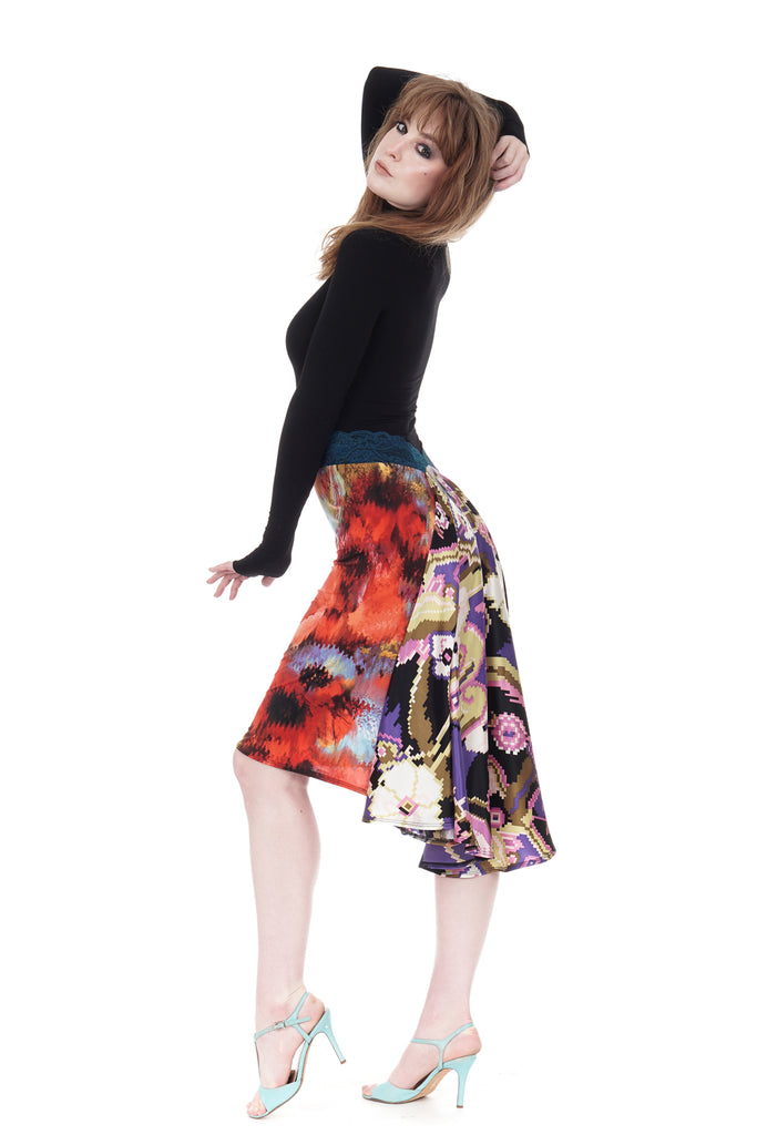 the signature skirt in mixed prints - Poema Tango Clothes: handmade luxury clothing for Argentine tango