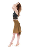 the signature skirt in mustard suede silk - Poema Tango Clothes: handmade luxury clothing for Argentine tango