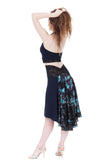the signature skirt in navy and mazarine blooms - Poema Tango Clothes: handmade luxury clothing for Argentine tango