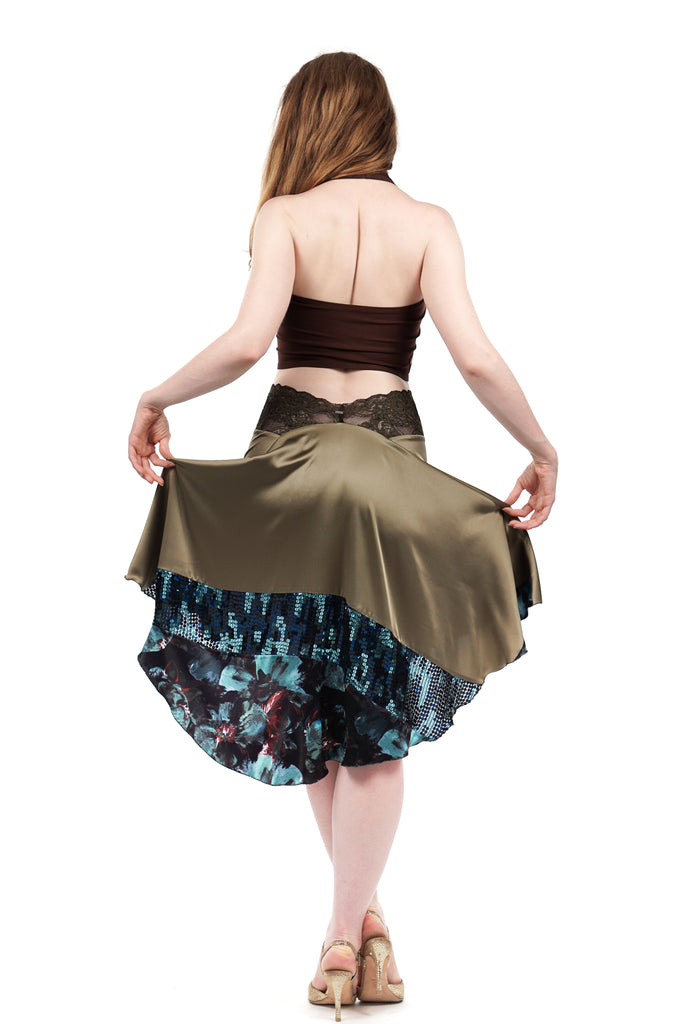 the signature skirt in olive and mazarine - Poema Tango Clothes: handmade luxury clothing for Argentine tango