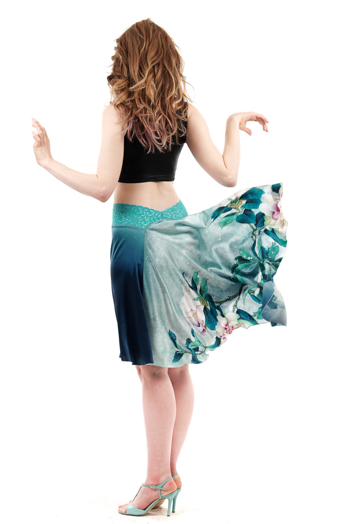 the signature skirt in ombre blue peony - Poema Tango Clothes: handmade luxury clothing for Argentine tango