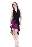 the signature skirt in orchid and illustrated flowers - Poema Tango Clothes: handmade luxury clothing for Argentine tango