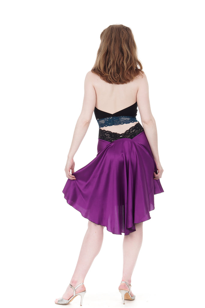 the signature skirt in orchid silk - Poema Tango Clothes: handmade luxury clothing for Argentine tango